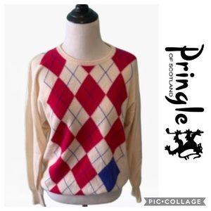 100% Cashmere Argyle Sweater Medium Vintage 38